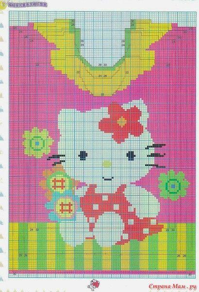 Hello Kitty intarsia sweater pattern
