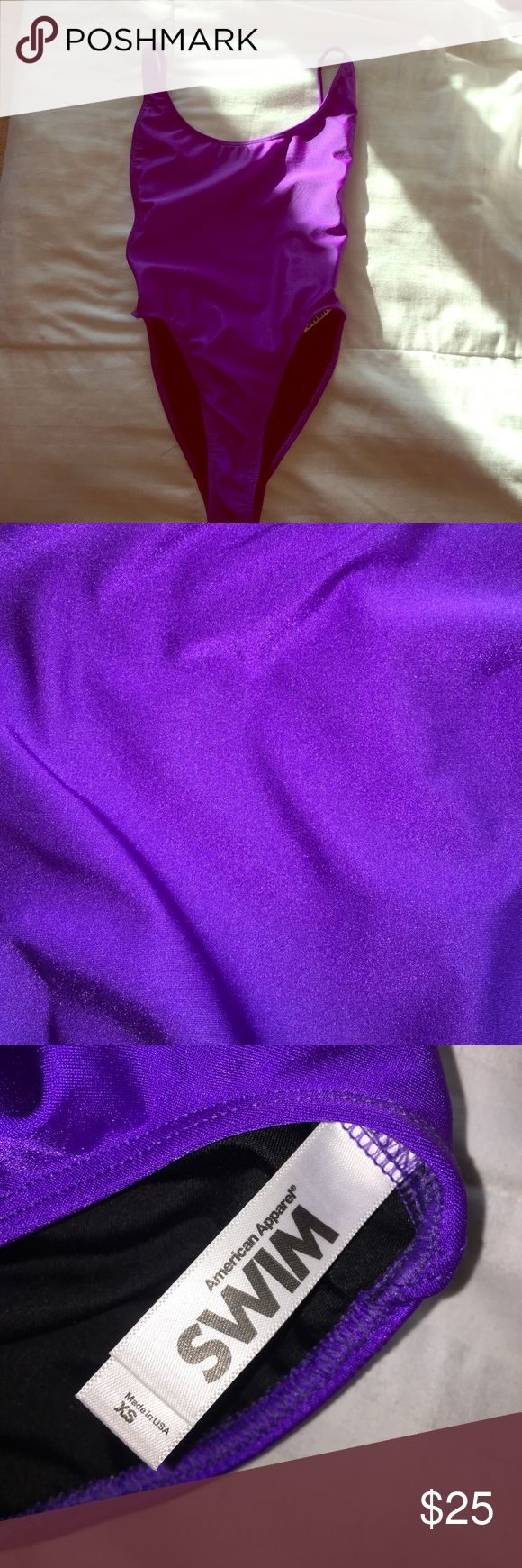 Bright purple one piece swimsuit Super fun color, high cut, low back, so cute on!! Never worn, perfect condition! Just never have the chance to wear it! American Apparel Swim One Pieces