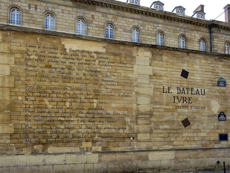 Le Bateau ivre (The Drunken Boat) by Arthur Rimbaud as a wall poem in rue Férou, Paris