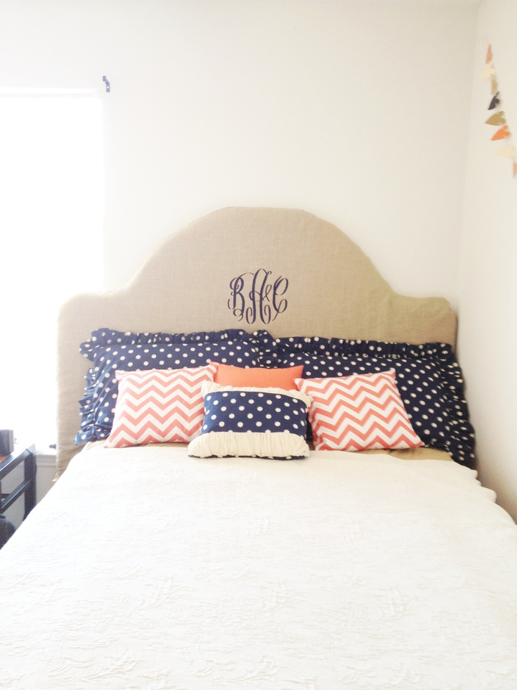 monogram burlap headboard and chevron and polka dot pillows