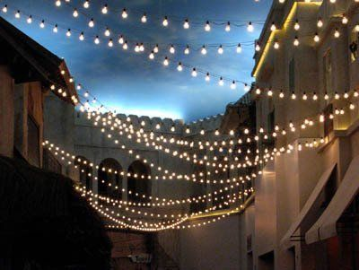 Engagement Party - left or right side of backyard   {How-To} String Lights Zigzagging Overhead   Apartment Therapy