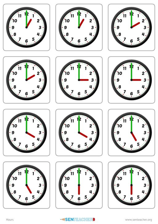 create clock face matching cards with various times. Black Bedroom Furniture Sets. Home Design Ideas