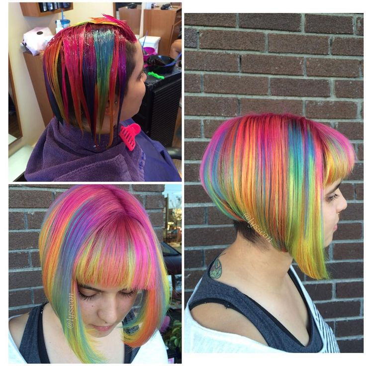 "Alyssa Wiener on Instagram: ""Trust the process  Used all @pravana locked in colors for this! I'm obsessed with them  #lyssdidmyhair #sandart #sandarthair #rainbowhair #hotonbeauty @hotonbeauty #modernsalon @modernsalon #btcpics @behindthechair_com #americansalon @american_salon #beautylaunchpad @beautylaunchpad #colormelt #colorist #nofilterneeded #mermaidians @mermaidians #unicornhair #mermaidhair"""