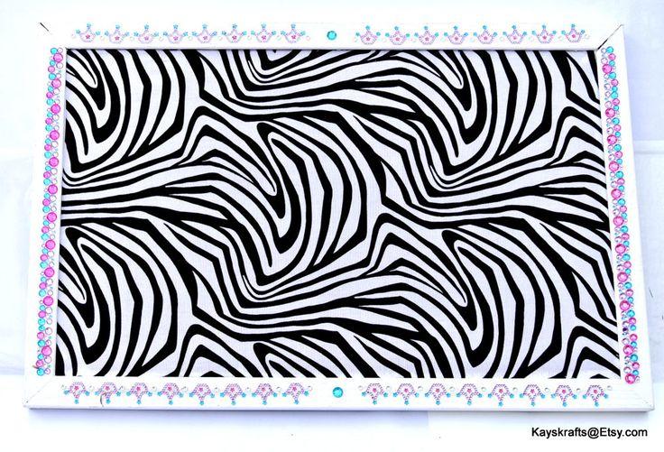 Black And White Zebra Corkboard White Frame With Bling Cork Board 17x11 Tack Board Cork Bulletin Board Cork Message Board by kayskrafts on Etsy