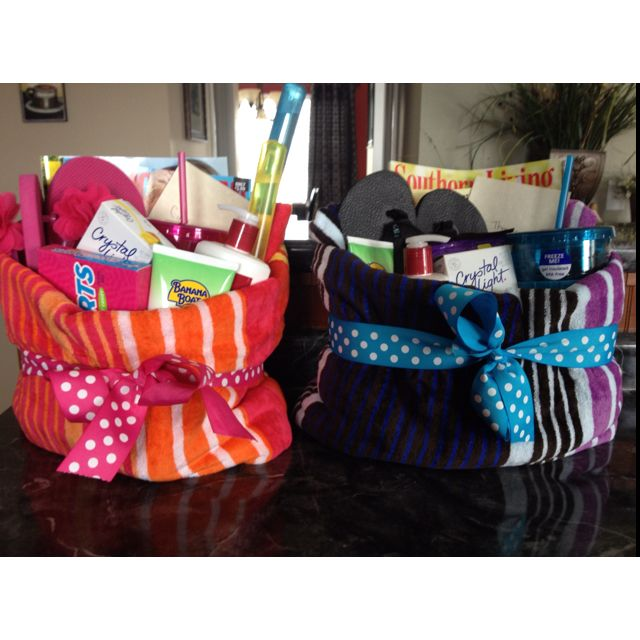 My end of year teacher gifts:) Summer towel baskets!!