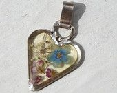 Real Flower Pendant, with Forget Me Not Blue Flowers, and Chervil Petals, Dried and Pressed Italian Flowers from Tuscany, Heart Pendant