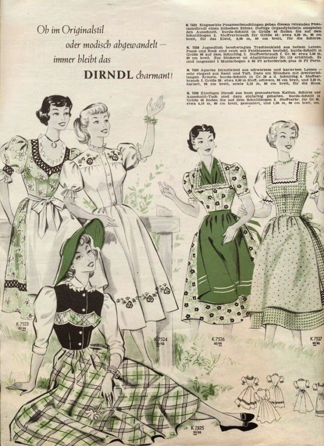 Endlessly lovely - and covetable! - 1950s folk and dirndl inspired fashions. #vintage #1950s #dirndls #fashion #dresses