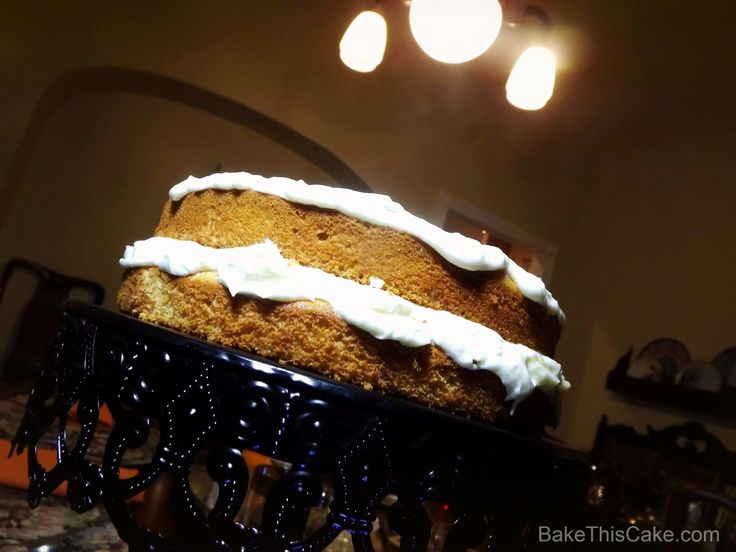 Banana Layer Cake #recipe with Vintage Ceiling Light BakeThisCake