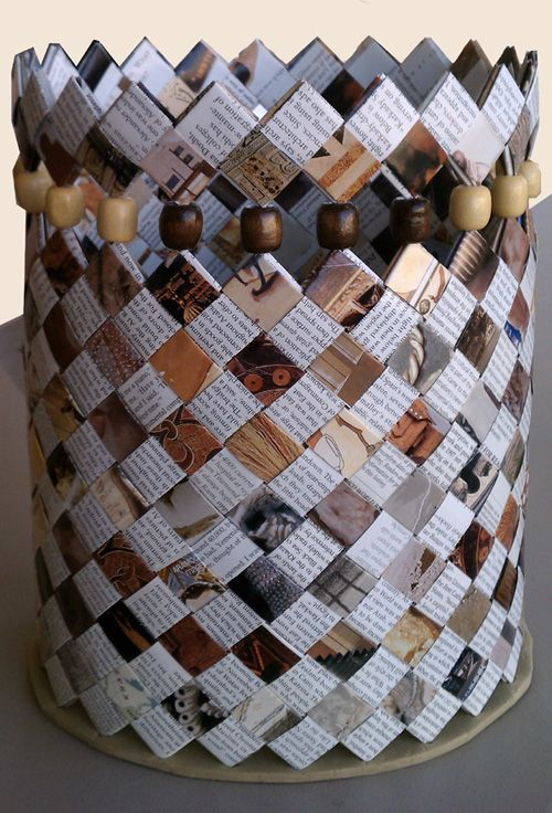 Paper Woven Basket from http://www.weaversguildmn.org/events/youre-invited-to-a-wgm-special-event?