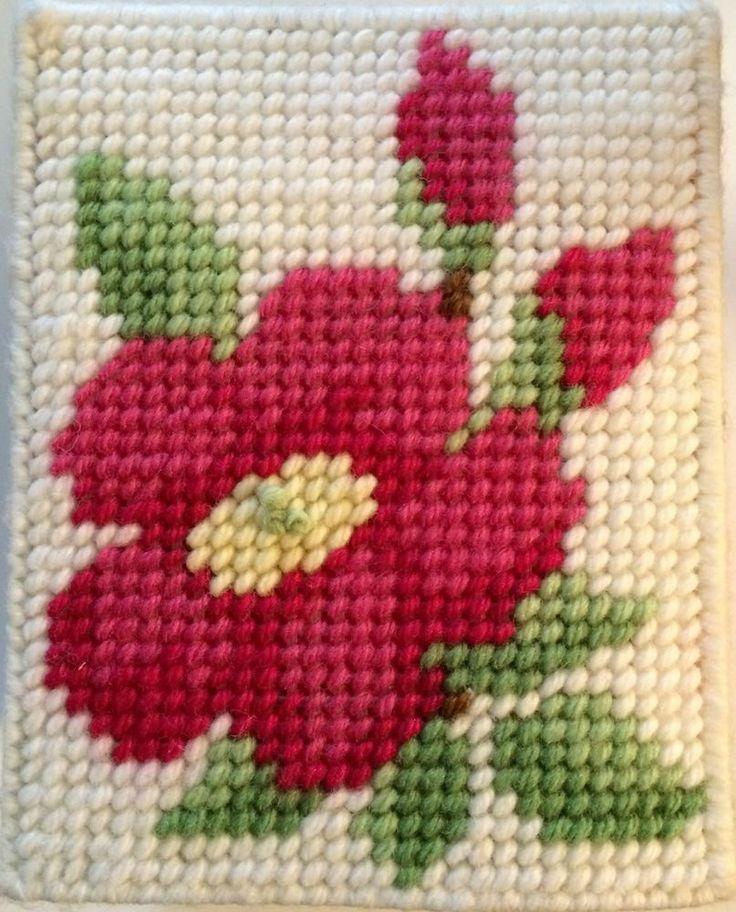 Floral Pink Roses Kleenex Tissue Box Cover Vintage Vtg Handmade Plastic Canvas | eBay