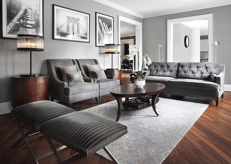 Gray living room Charcoal tufted sofa and 2 armchairs
