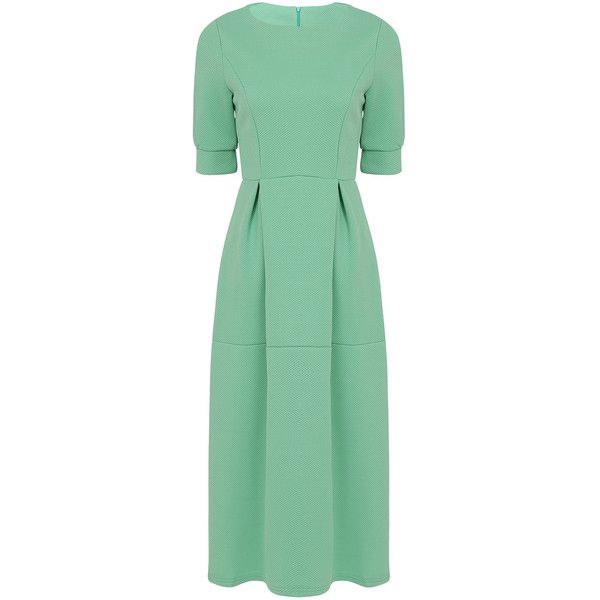 Yoins High-waist Dress with 1/2 Length Sleeves ($33) ❤ liked on Polyvore featuring dresses, green, holiday party dresses, high waist dress, elbow sleeve dress, elbow length dresses and going out dresses