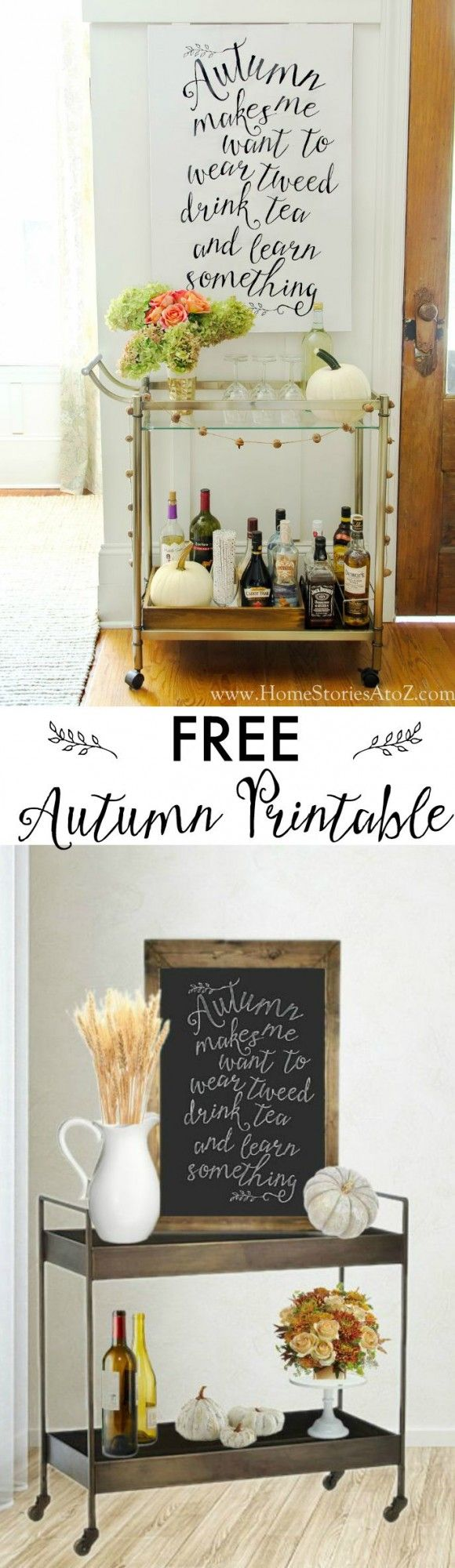 FREE autumn fall printable in either chalkboard art or black writing on white. So cute!