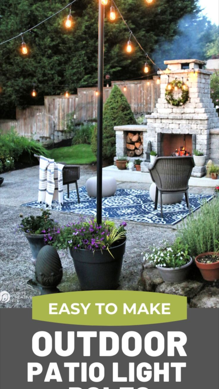 Poles For Outdoor Lights, Backyard String Lights, Backyard Lighting, Outdoor Lighting, Hanging Patio Lights, Lights In Garden, How To Hang Patio Lights, Garden Lighting Ideas, Backyard Patio Designs