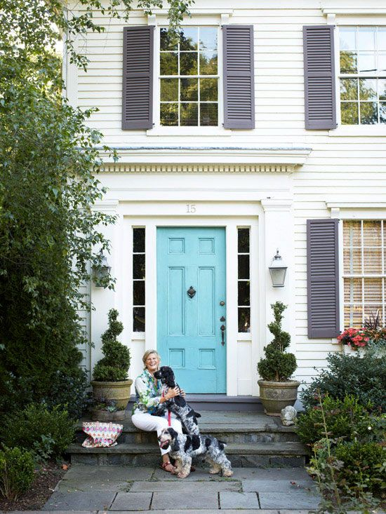 Exterior doors and landscaping turquoise blue doors and - What color door goes with gray house ...