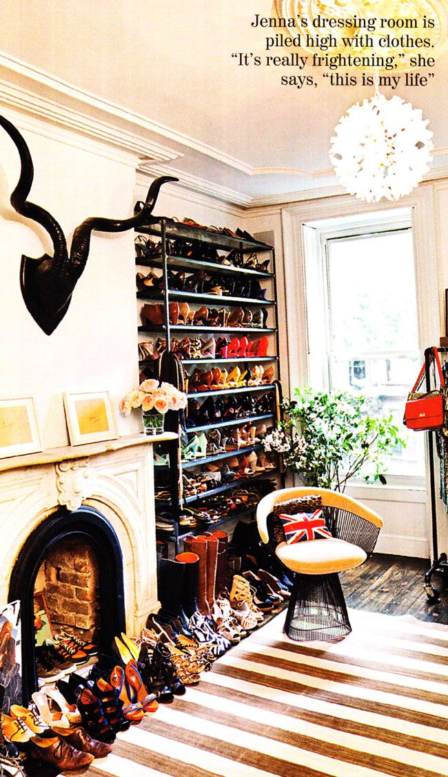Dressing room of Jenna Lyons as photographed by Todd Selby and printed in British Vogue