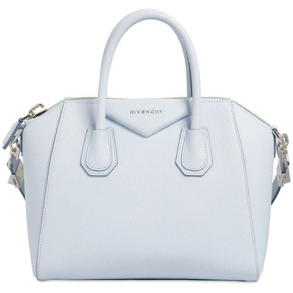 GIVENCHY Small Antigona Grained Leather Bag found on Polyvore featuring bags, handbags, light blue, blue handbags, triangle bag, full grain leather bag, full grain leather purse and givenchy bags