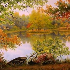 changing seasons, I love this peaceful scene on a lake as #fall approaches