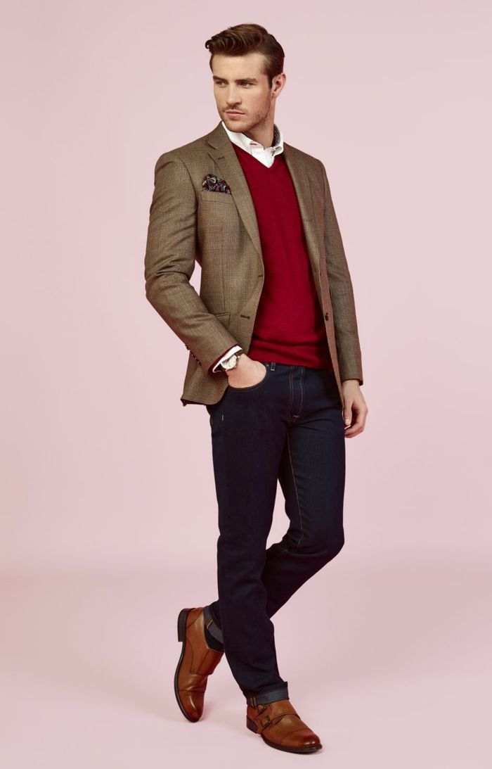 brown blazer with pocket handkerchief, over burgundy v-neck sweater, and white shirt, worn with brown leather business casual shoes, by man in dark jeans