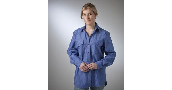 Country Classic Collection – Style 613718 (Long Sleeve) & Style 613728 (Short Sleeve) are a Chambray Shirt made from 100% Cotton fabric in Blue and are available in sizes – 8 – 22