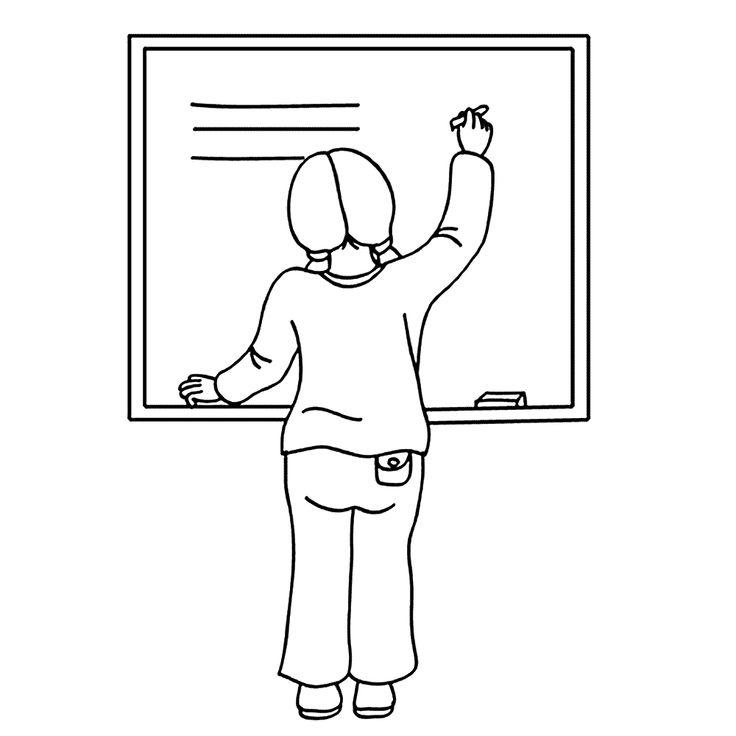 Leuk voor kids kleurplaat ~ Op het schoolbord schrijven