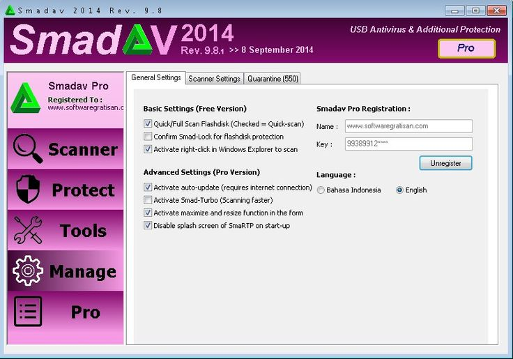 Download SmadAV Pro 9.8.1 Terbaru Oktober 2014 di: http://softwaregratisan.com/download-smadav-pro-9-8-1-keygen-antivirus-terbaik-indonesia.html