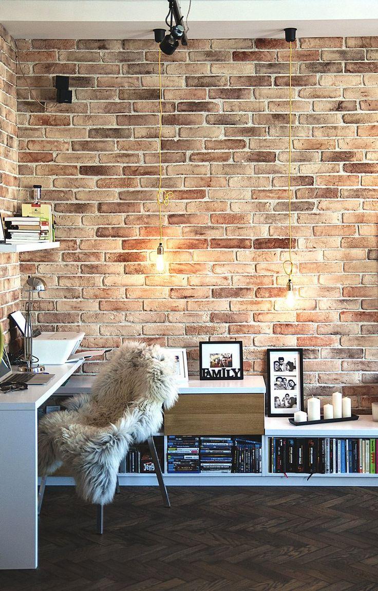 zona de trabajo, paredes de ladrillo visto