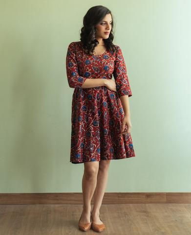 Red and Blue Block Printed Fit and Flare Dress