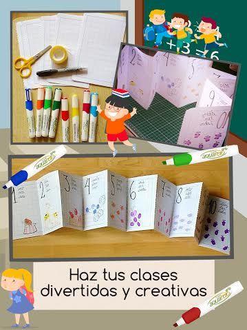 Tríptico para aprender los números. Haz tus clases más coloridas y cretivas con Azor. #manualidades #crafts  #pascua #easy  DIY  2016