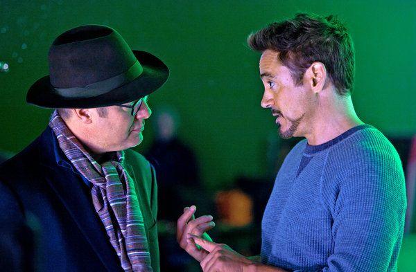 Downey & Spader on set, 2014 - via James Spader Prepares for 'Avengers: Age of Ultron' - NYTimes.com