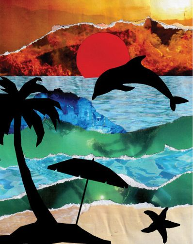 'Thailand Sunsets' Torn paper collage and silhouette cut outs, free templates to download