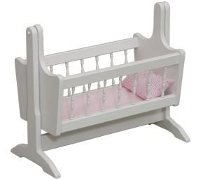 "American Made Wooden Swinging Doll Cradle This spacious wooden doll cradle can rock dolls up to 18"" to sleep, including American Girl Dolls."