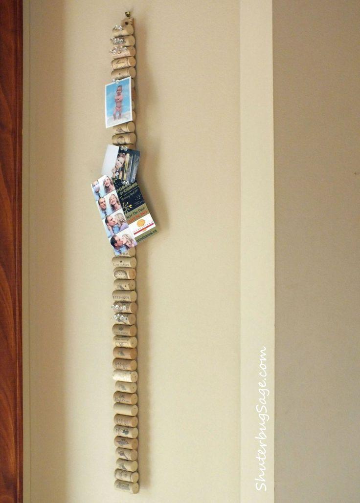 Yardstick with corks glued on to make a long skinny memo board. Or make…