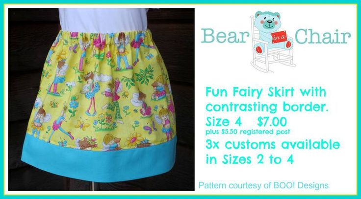 Handmade By Bear In A Chair Fun Fairy Skirt with contrasting border.