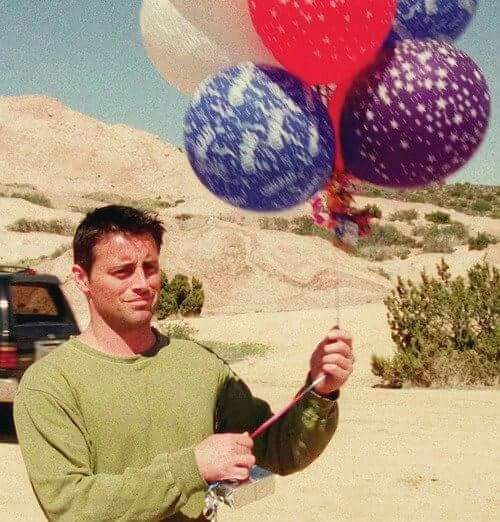 In vegas after chandler sends him the balloons saying how he should've believed in him