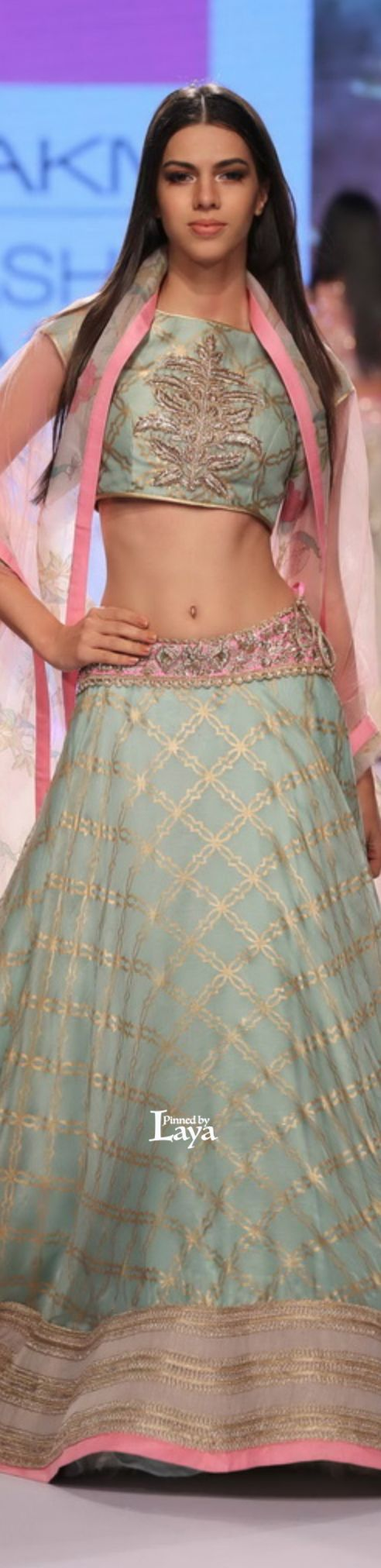 turquoise blue baby pink - unique combination #lehenga - loved & pinned by www.omved.com