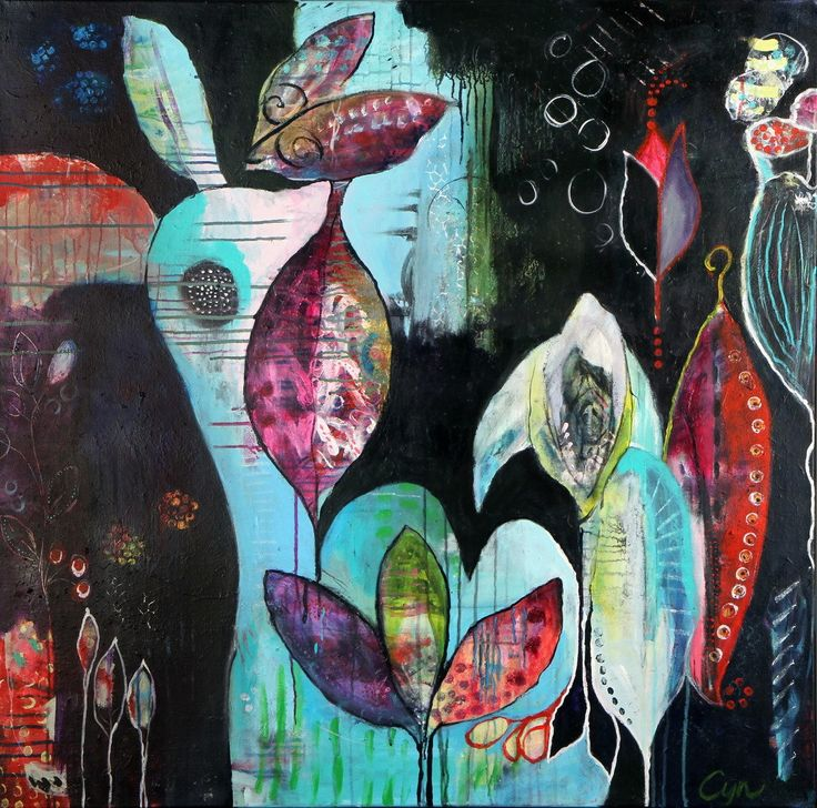 Inner voice. Acryl 100x100cm.  Cynthia Jagtman