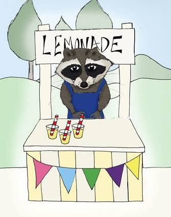 Raccoon illustration flogging lemonade in the park, see they are not always doing the work of the ninjas. 2013. By me.