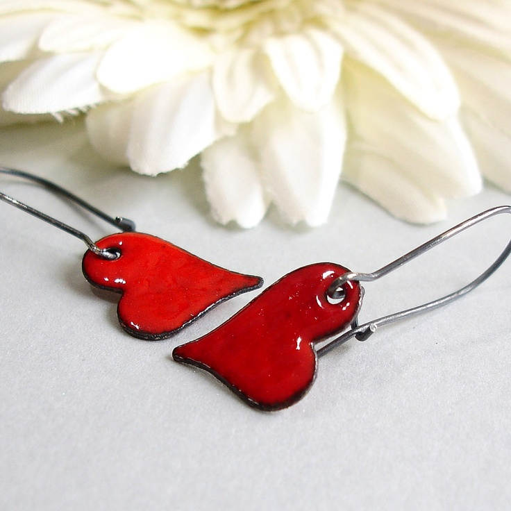 Red Heart Earrings,  Red Enamel Earrings, Enamel Jewelry. $15.00, via Etsy.