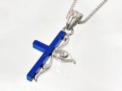 Zilveren ketting met kruis blauw met zandstraal