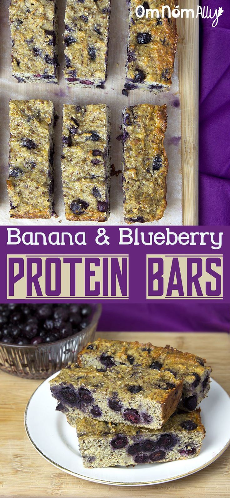 Banana & Blueberry Protein Bars @OmNomAlly