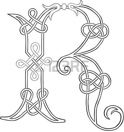 A Celtic Knot-work Capital Letter R Stylized Outline