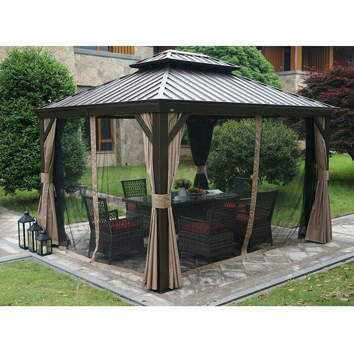 Dahlin Hardtop 12 Ft W X 10 Ft D Aluminum Patio Gazebo In 2020 Gazebo Patio Patio Gazebo