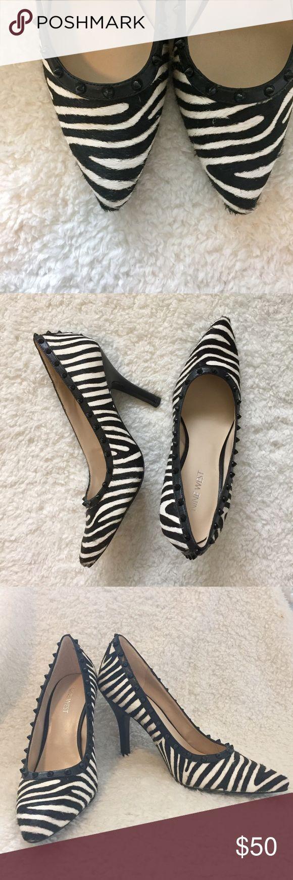 NWOT: Nine West Zebra Heels. Nine West, size 7, NWOT, Zebra Print heels with black studded accents. Nine West Shoes Heels