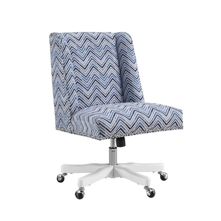 Linon Finn Chevron Office Chair, Blue