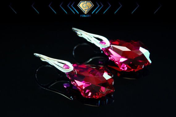 Swarovski earrings Ruby Swarovski crystal earrings by Perlery