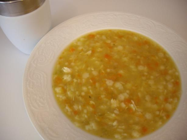 Pastina Chicken Soup from Food.com:   This is a feel good soup!  If you have boneless skinless chicken thighs even better.