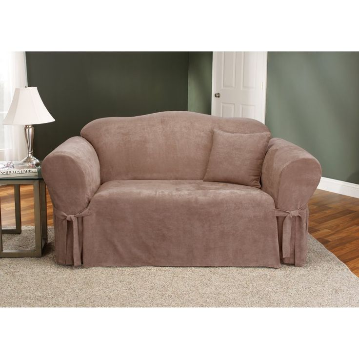Sure Fit Soft Suede Loveseat Slipcover Sable - 34543