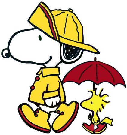 PEANUTS WOODSTOCK & SNOOPY the Beagle In Raingear Window Cling Decal Sticker NEW