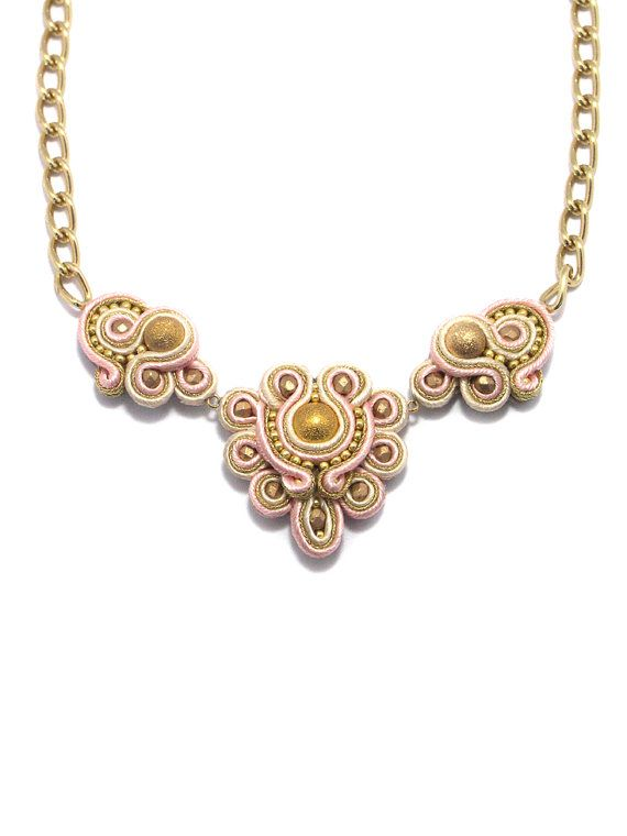 Pale pink and gold hand embroidered necklace